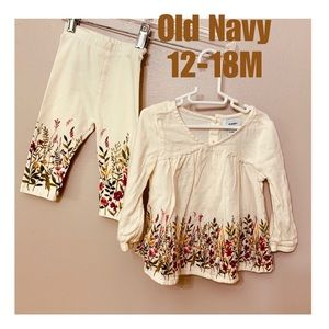 🦋2 for $15🦋 Old navy top and legging set 12-18M